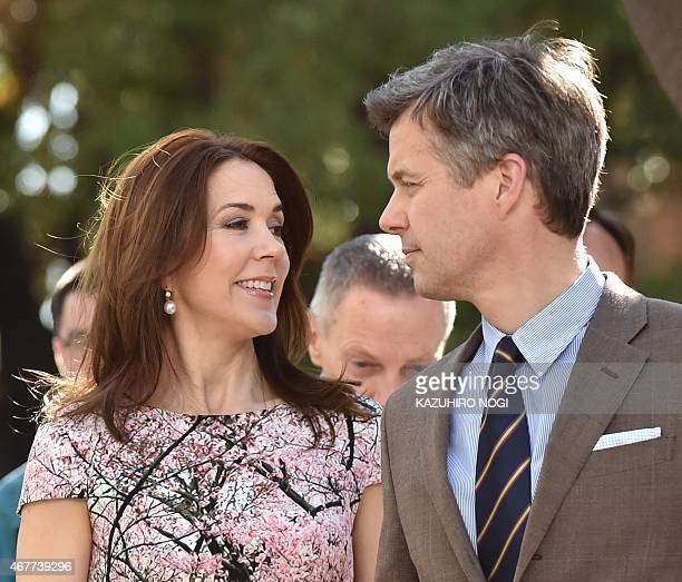 Danish Crown princess Mary and Crown Prince Frederik arrive at the official opening of the exhibition about Greenland 'Spiritual Greenland' in Tokyo...