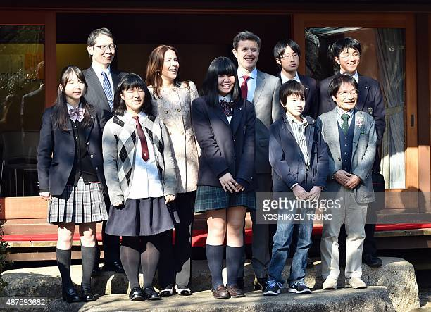 Danish Crown princess Mary and Crown Prince Frederik meet young Japanese students in Tokyo on March 26 2015 The Danish royal couple are on a threeday...