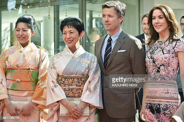 Danish Crown princess Mary and Crown Prince Frederik pose with Japanese Princess Takamado and her daughter Princess Tsuguko at the official opening...
