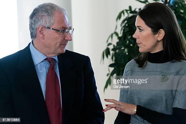 Danish Crown Princess Mary speaks to Fortunato Ciardiello President of ESMO during the Princess attendance at the Government Hospital preopening of...