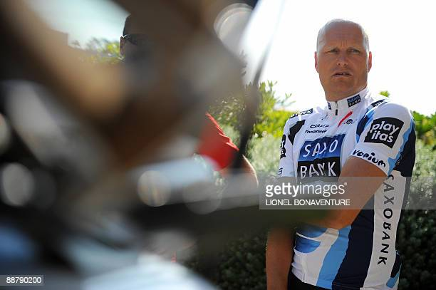 Danish cycling team Team Saxo Bank 's manager Bjarne Riis of Denmark concentrates at Monte Carlo Bay hotel before participating in a training session...
