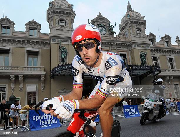 Danish cycling team Team Saxo Bank 's rider Fabien Cancellara of Switzerland rides past the Monte Carlo casino on July 4 2009 during the 15km...