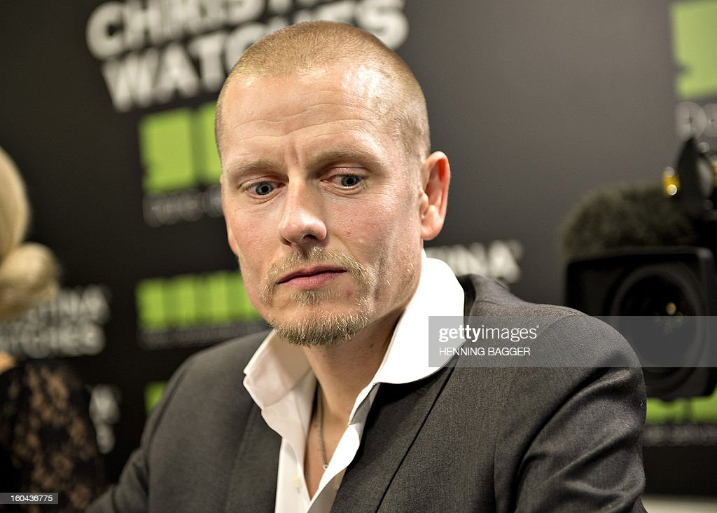 Danish cyclist Michael Rasmussen addresses a press conference in Herning, Denmark, on January 31, 2013. Rasmussen, who quit the 2007 Tour de France when he was wearing the race leader's yellow jersey, admitted that he had used banned drugs between 1998 and 2010. Rasmussen, a renowned climber who added that he was now retiring from the sport, said he had used the blood-booster EPO, growth hormones, testosterone, insulin and cortisone, as well as receiving blood transfusions. AFP PHOTO / HENNING BAGGER / SCANPIX DENMARK / DENMARK OUT