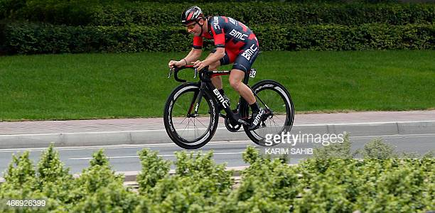 Danish cyclist Sebastian Lander of BMC Racing Team rides during the fourstage event's 99 kilometre time trial as part of the Tour of Dubai on...