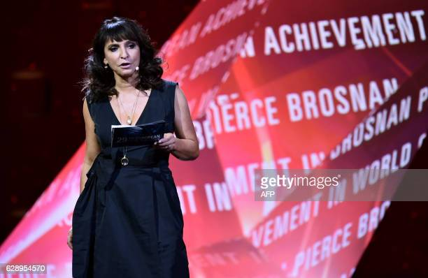 Danish director Susanne Bier arrives on stage during the 29th European Film Awards ceremony on December 10 2016 in Wroclaw / AFP / POOL / MACIEJ...