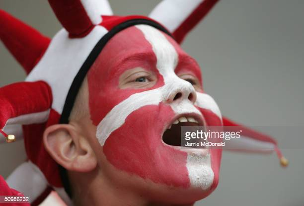 A danish fan gets into the atmosphere during the UEFA Euro 2004 Group C match between Denmark and Sweden at the Bessa Sec Stadium on June 22 2004 in...