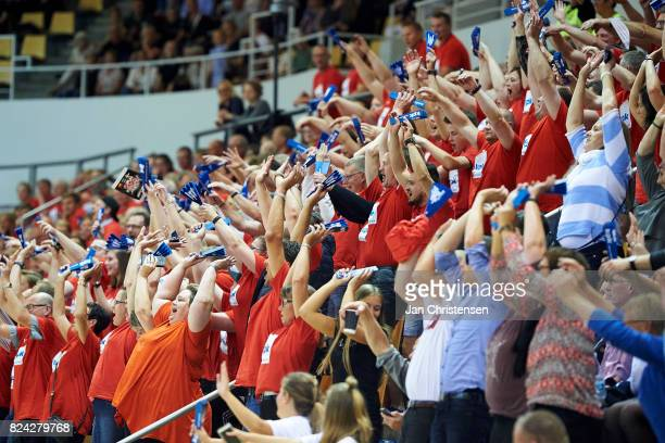 Danish fans celebrate during the international friendly match between Denmark and Germany at Ceres Arena on June 08 2017 in Arhus Denmark