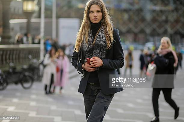 Danish fashion model Caroline Brasch Nielsen outside Tonsure during the Copenhagen Fashion Week Autumn/Winter 2016 on February 3 2016 in Copenhagen...