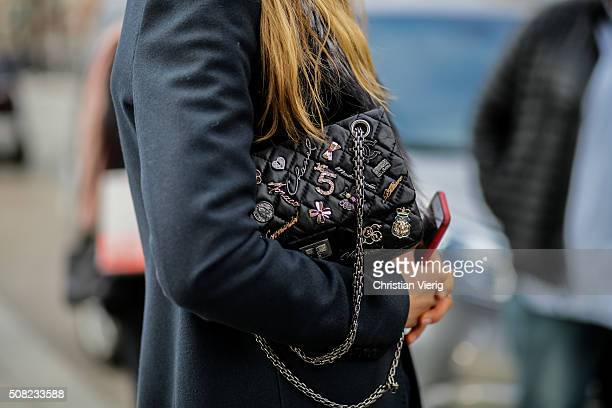 Danish fashion model Caroline Brasch Nielsen with a Chanel bag outside Tonsure during the Copenhagen Fashion Week Autumn/Winter 2016 on February 3...