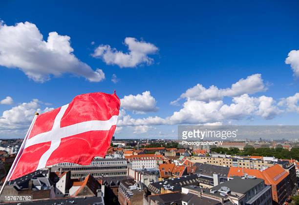 Danish flag and Copenhagen