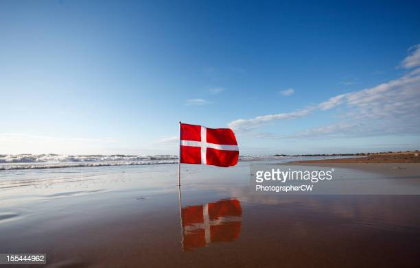 Danish flag at the west coast of Jutland