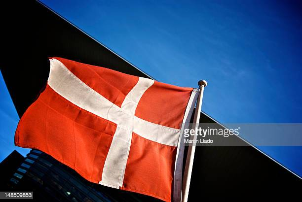 Danish flag outside Copenhagen Opera House, Holmen.