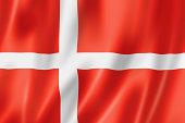 'Denmark flag, three dimensional render, satin texture'