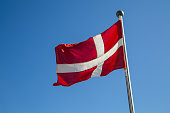 Photograph of the Danish Flag called 'Dannebrog'.