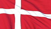 Danish flag, close up, 3D render