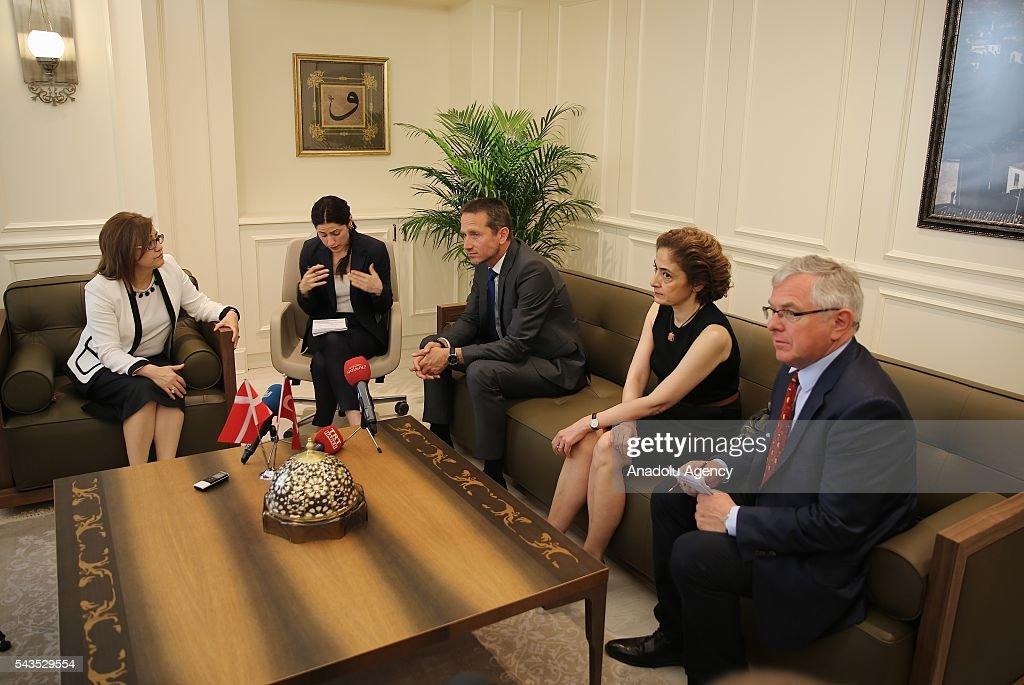 Danish Foreign Affairs Minister, Kristian Jensen (L3) and Danish Defense Minister Peter Christensen (R) visit Mayor of Gaziantep Metropolitan Municipality, Fatma Sahin (L) in Gaziantep, Turkey on June 29, 2016.
