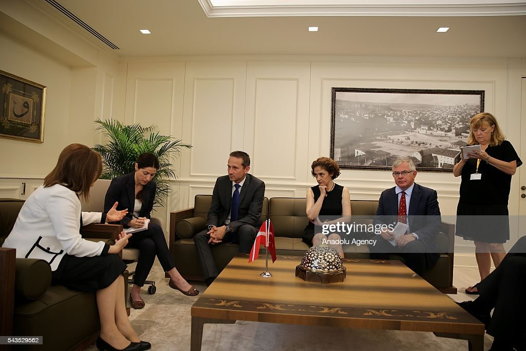 Danish Foreign Affairs Minister, Kristian Jensen (L3) and Danish Defense Minister Peter Christensen (R2) visit Mayor of Gaziantep Metropolitan Municipality, Fatma Sahin (L) in Gaziantep, Turkey on June 29, 2016.