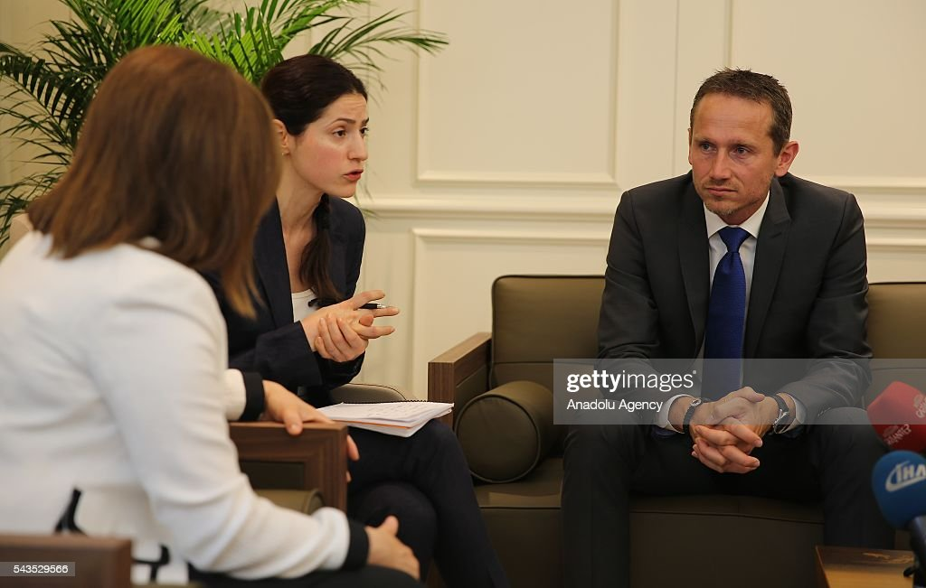 Danish Foreign Affairs Minister, Kristian Jensen (R) visits Mayor of Gaziantep Metropolitan Municipality, Fatma Sahin (L) in Gaziantep, Turkey on June 29, 2016.
