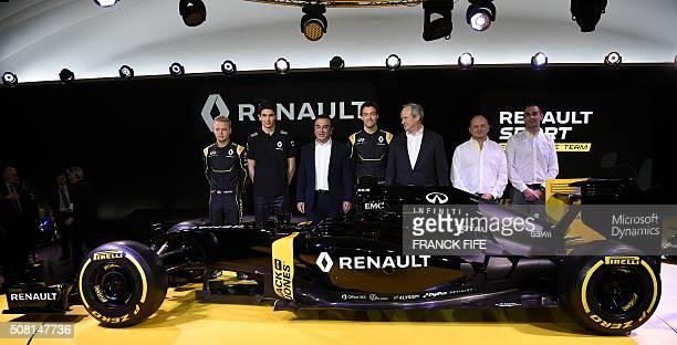 Danish Formula One driver Kevin Magnussen Renault F1 tests driver Esteban Ocon Renault President Carlos Ghosn British driver Jolyon Palmer Renault...