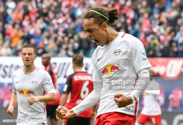 Danish forward Yussuf Poulsen celebrates after scoring during the German First division Bundesliga football match between RB Leipzig and SC Freiburg...