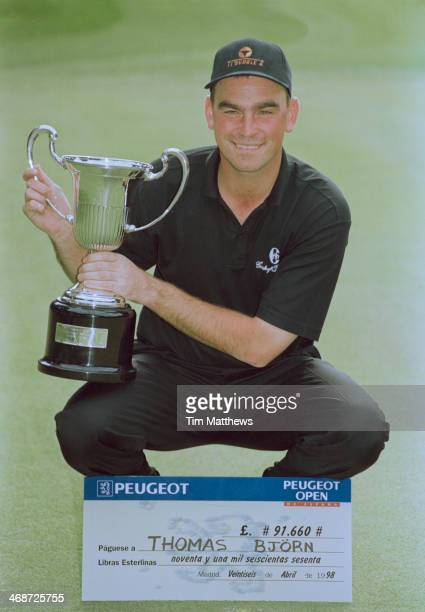 Danish golfer Thomas Bjorn with the trophy after winning the Peugeot Open de Espana at El Prat Golf Club Barcelona Spain 26th April 1998