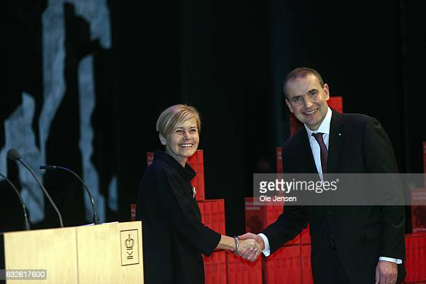 Danish Minister of Education Mette Bock thanks Icelandic President Gudni Thorlacius Johannesson at 'The Black Diamond' for the the national to...