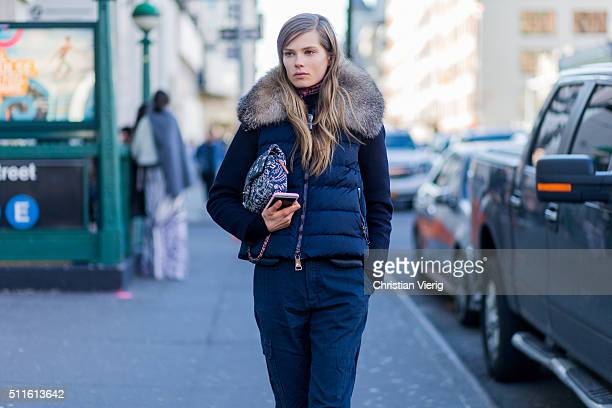 Danish model Caroline Brasch Nielsen seen outside Calvin Klein during New York Fashion Week Women's Fall/Winter 2016 on February 18 2016 in New York...