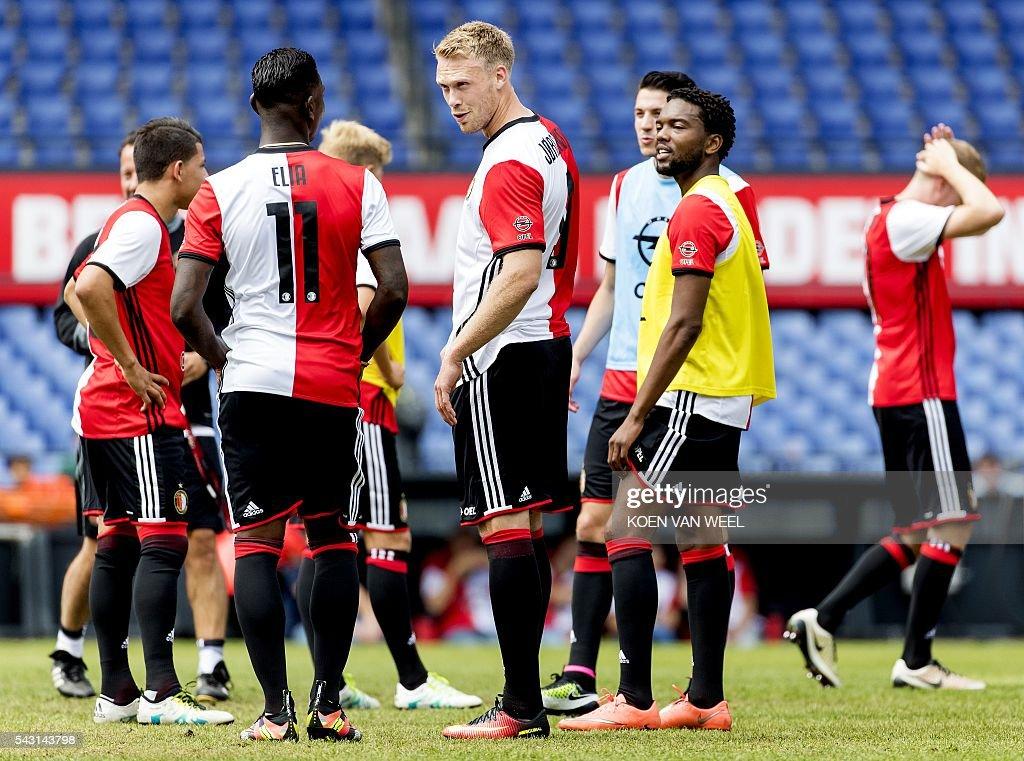 Danish Nicolai Jorgensen (C) of Feyenoord talks to his teammates during the first training of Feyenoord of the new football season in The Kuip Stadium, Rotterdam, on June 26, 2016. / AFP / ANP / Koen van Weel / Netherlands OUT - Belgium OUT