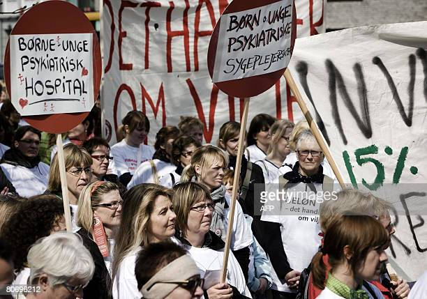 Danish nurses took to the streets of Aarhus Denmark's second largest town on April 16 2008 Some 100000 hospital and retirement home workers in...