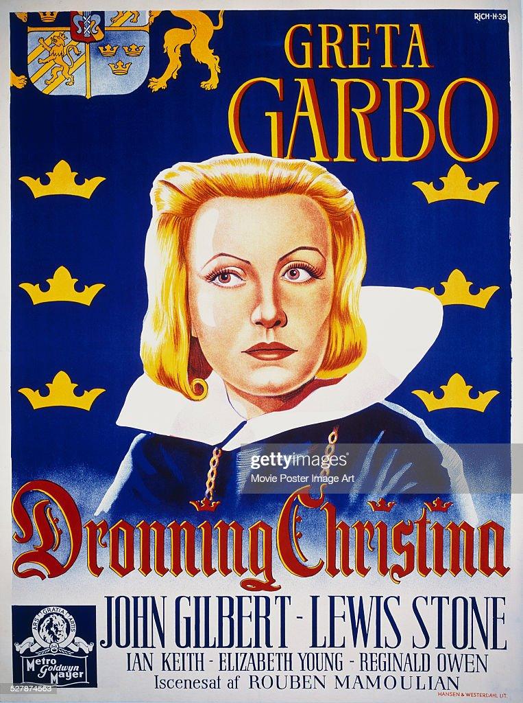 A Danish poster for Rouben Mamoulian's 1933 biopic 'Dronning Christina' starring Greta Garbo