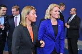 Danish President Helle ThorningSchmidt and European Union High Representative Federica Mogherini attend the EU summit in Brussels Belgium on February...
