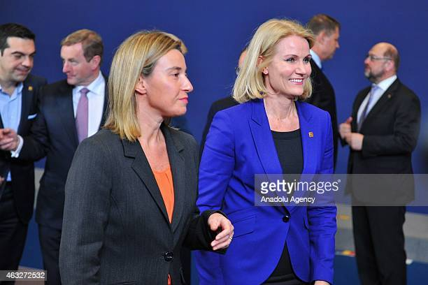 Danish President Helle ThorningSchmidt and European Union High Representative Federica Mogherini attend the EU summit in Brussels Belgium on February...