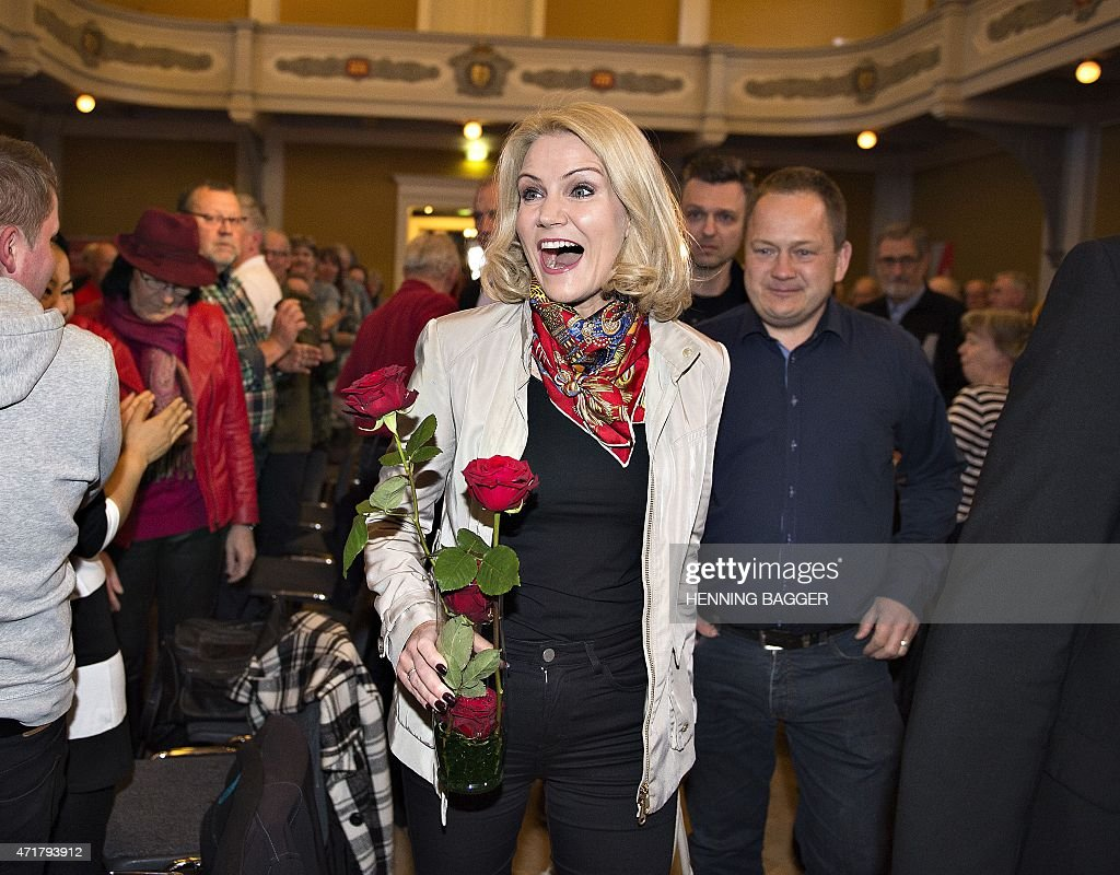 Danish Prime Minister and chairman of the Social Democrats <a gi-track='captionPersonalityLinkClicked' href=/galleries/search?phrase=Helle+Thorning-Schmidt&family=editorial&specificpeople=2485486 ng-click='$event.stopPropagation()'>Helle Thorning-Schmidt</a> reacts when she arrives in Randers, where she will give the first speech of the day to local members of the Social Democrats on Labour Day, or May Day, May 1, 2015.