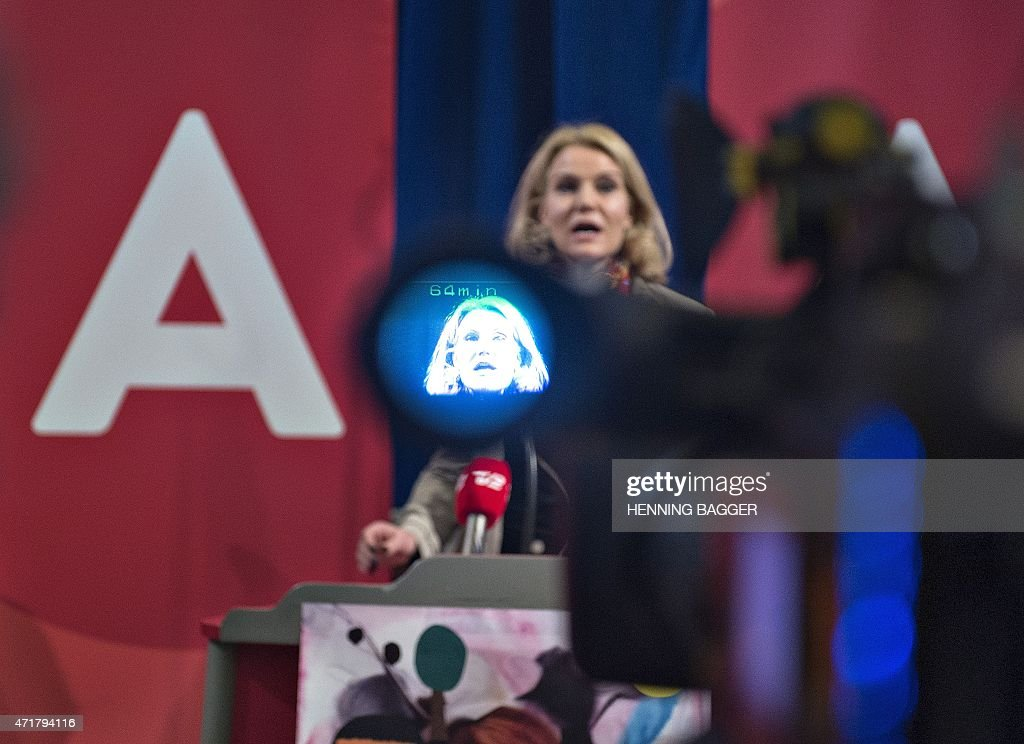 Danish Prime Minister and chairman of the Social Democrats Helle ThorningSchmidt gives the first speech of the day to local members of the Social...
