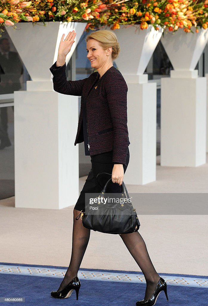Danish Prime Minister Helle Thorning Schmidt arrives for meetings on the second day of the 2014 Nuclear Security Summit on March 25 2014 in The Hague...