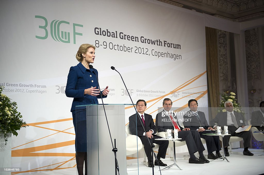 Danish Prime Minister Helle Thorning Schmidt (L) speaks at the opening of the confernce Global Green Growth Forum on October 8, 2012 in Copenhagen, as South Korean Prime Minister Kim Hwang-sik (2nd L), Juan Rafael Elvira Quesada (3rd L), Minister of Environment of Mexico, Liu Qi (4th L), Vice Minister National Energy Administration, China and Abdullah bin Hamad Al-Attiyah (R), Deputy Prime Minister, Chairman of the Administrative Control and Transparency Authority, Qatar, listen. The annual two day event will bring together more than 200 leaders from government, industry and international organizations convening in Copenhagen for the Global Green Growth Forum (3GF) to discuss concrete measures to promote an array of green growth measures.