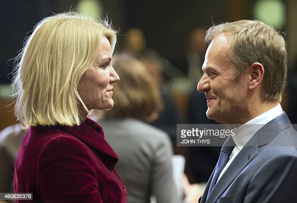 Danish Prime minister Helle Thorning Schmidt talks with European Council President Donald Tusk ahead of the European Union summit at the EU...