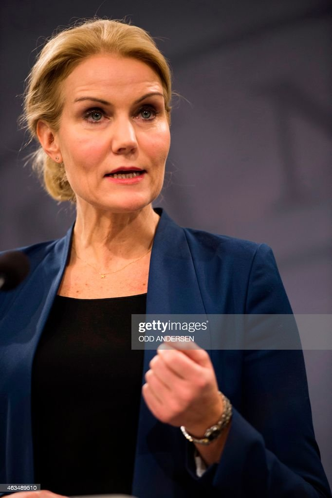 Danish prime minister <a gi-track='captionPersonalityLinkClicked' href=/galleries/search?phrase=Helle+Thorning-Schmidt&family=editorial&specificpeople=2485486 ng-click='$event.stopPropagation()'>Helle Thorning-Schmidt</a> addresses a press conference in Copenhagen on February 15, 2015 after two fatal attacks in the Danish capital, at a cultural center during a debate on Islam and free speech and a second outside the city's main synagogue. France's ambassador to Denmark Francois Zimeray, who was attending the debate, told AFP the attackers were seeking to replicate the January 7 assault by jihadists in Paris on satirical newspaper Charlie Hebdo that left 12 dead. AFP PHOTO / ODD ANDERSEN