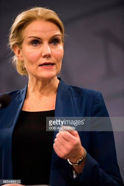 Danish prime minister Helle ThorningSchmidt addresses a press conference in Copenhagen on February 15 2015 after two fatal attacks in the Danish...