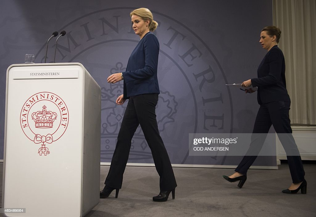 Danish prime minister Helle ThorningSchmidt and Danish Justice Minister Mette Fredriksen arrive at a press conference in Copenhagen on February 15...