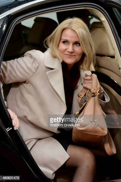 Danish Prime Minister Helle ThorningSchmidt arrives ahead of the European Union summit at the EU headquarters in Brussels on December 18 2014 EU...