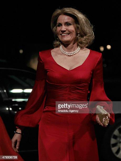 Danish Prime Minister Helle ThorningSchmidt arrives at Amalienborg Palace for a dinner in honor of Turkish President Abdullah Gul and his wife...