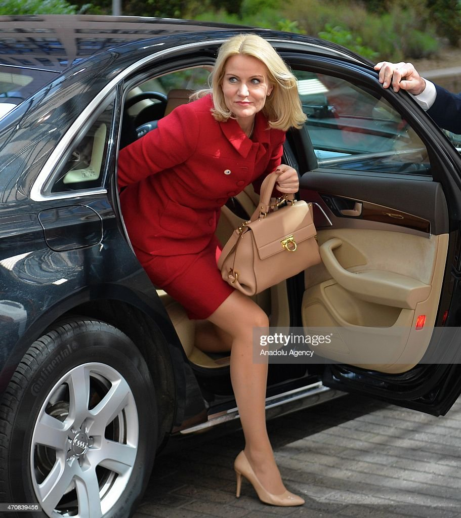 Danish prime minister Helle ThorningSchmidt arrives at the EU headquarters before the European Union summit in Brussels Belgium on April 23 2015