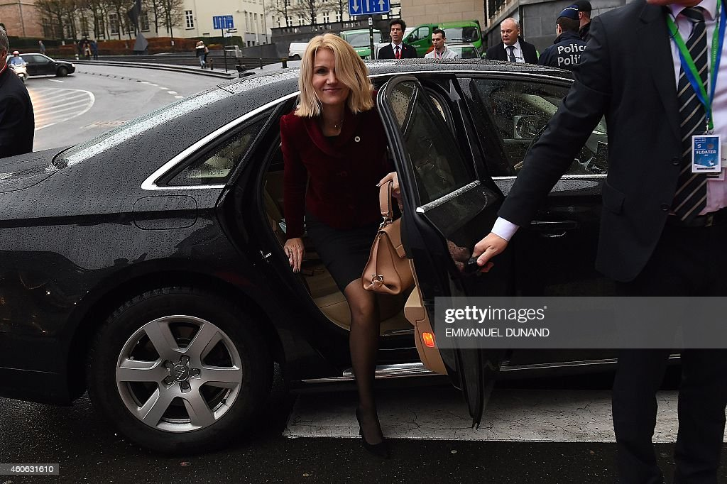 Danish Prime Minister Helle ThorningSchmidt arrives for a Party of European Socialists meeting ahead of a European Council meeting in Brussels...