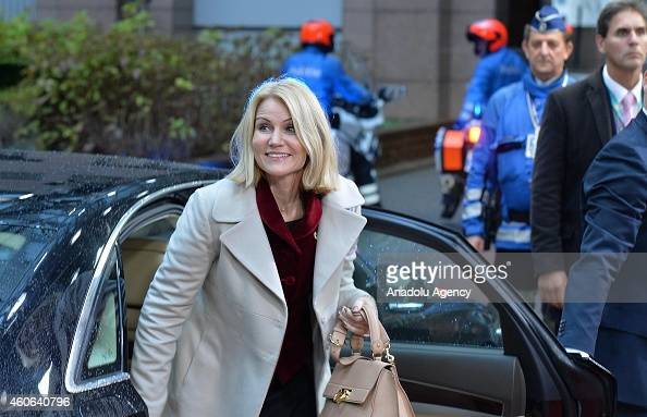 Danish Prime Minister Helle ThorningSchmidt arrives for the European Council meeting at the European Council headquarters in Brussels Belgium on...