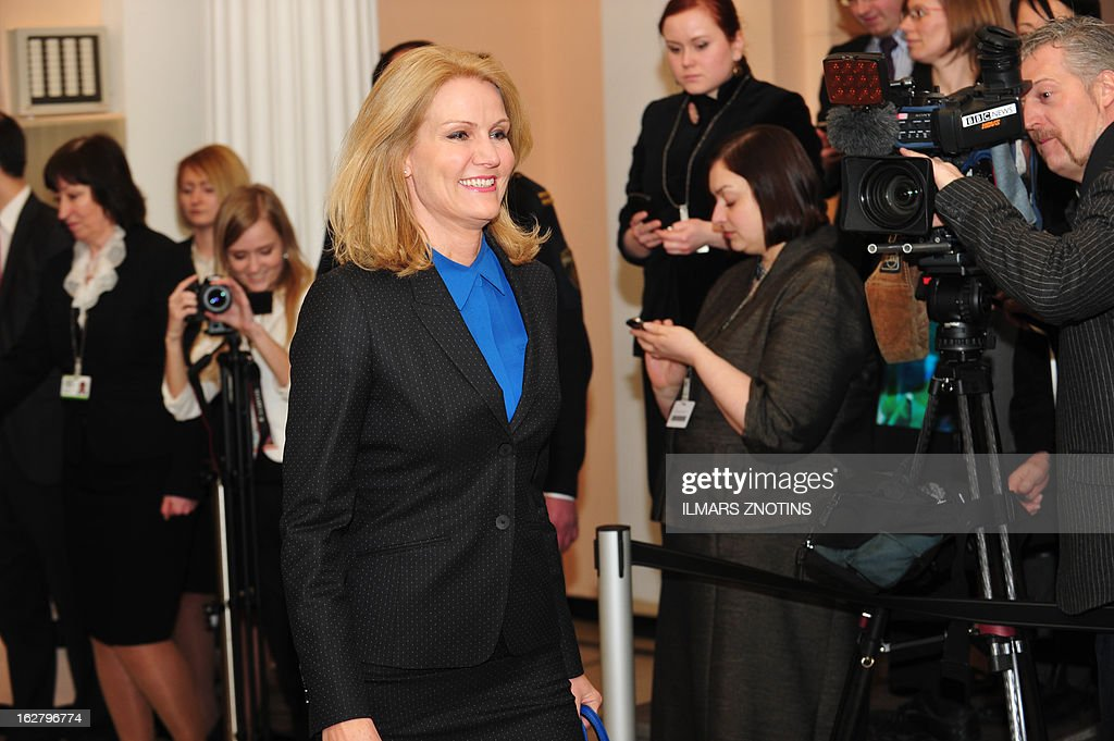 Danish Prime Minister Helle Thorning-Schmidt arrives for the Northern Future Forum in Riga on February 27, 2013. The Northern Future Forum is an annual, informal meeting of prime ministers, policy innovators, entrepreneurs and business leaders from 9 nations.