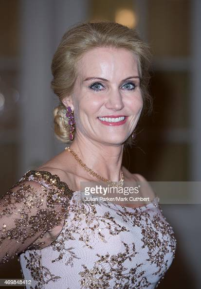 Danish Prime Minister Helle ThorningSchmidt attends a gala dinner at Christiansborg Palace on the eve of the 75th Birthday of Queen Margrethe II of...