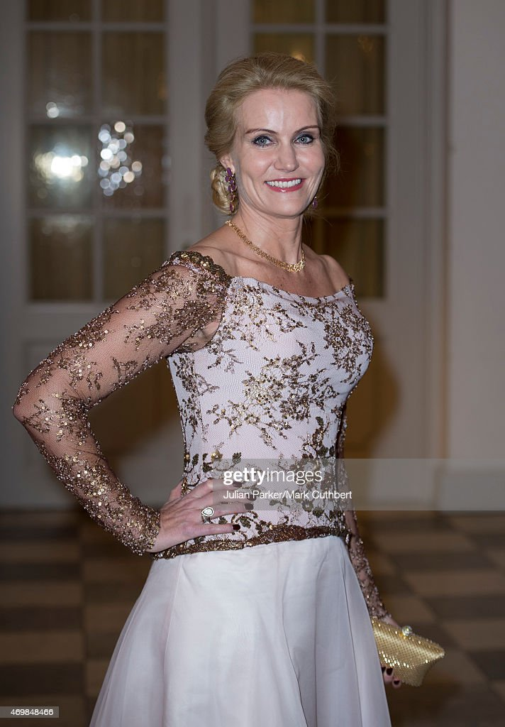 Danish Prime Minister <a gi-track='captionPersonalityLinkClicked' href=/galleries/search?phrase=Helle+Thorning-Schmidt&family=editorial&specificpeople=2485486 ng-click='$event.stopPropagation()'>Helle Thorning-Schmidt</a> attends a gala dinner at Christiansborg Palace on the eve of the 75th Birthday of Queen Margrethe II of Denmark on April 15, 2015 in Copenhagen, Denmark.