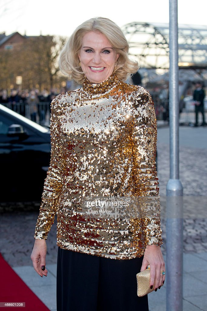 Danish Prime Minister <a gi-track='captionPersonalityLinkClicked' href=/galleries/search?phrase=Helle+Thorning-Schmidt&family=editorial&specificpeople=2485486 ng-click='$event.stopPropagation()'>Helle Thorning-Schmidt</a> attends a Gala Night to mark the forthcoming 75th Birthday of Queen Margrethe II of Denmark at Aarhus Concert Hall on April 8, 2015 in Aarhus, Denmark.