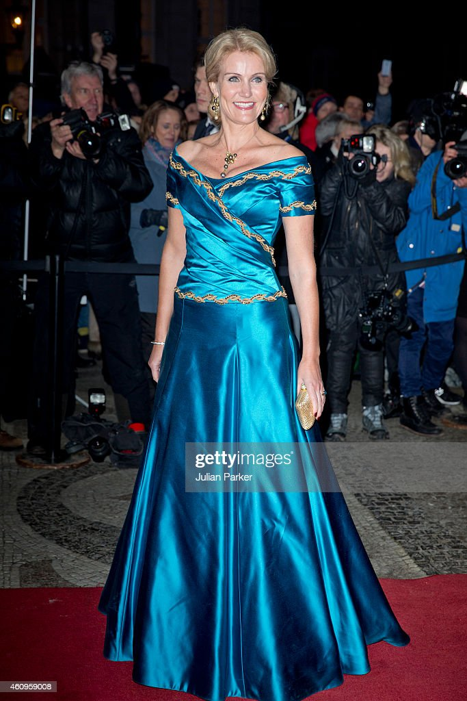 Danish Prime Minister <a gi-track='captionPersonalityLinkClicked' href=/galleries/search?phrase=Helle+Thorning-Schmidt&family=editorial&specificpeople=2485486 ng-click='$event.stopPropagation()'>Helle Thorning-Schmidt</a> attends a New Years Levee and Banquet hosted by Queen Margrethe of Denmark, at Christian VII's Palace on January 1, 2015 in Copenhagen, Denmark.